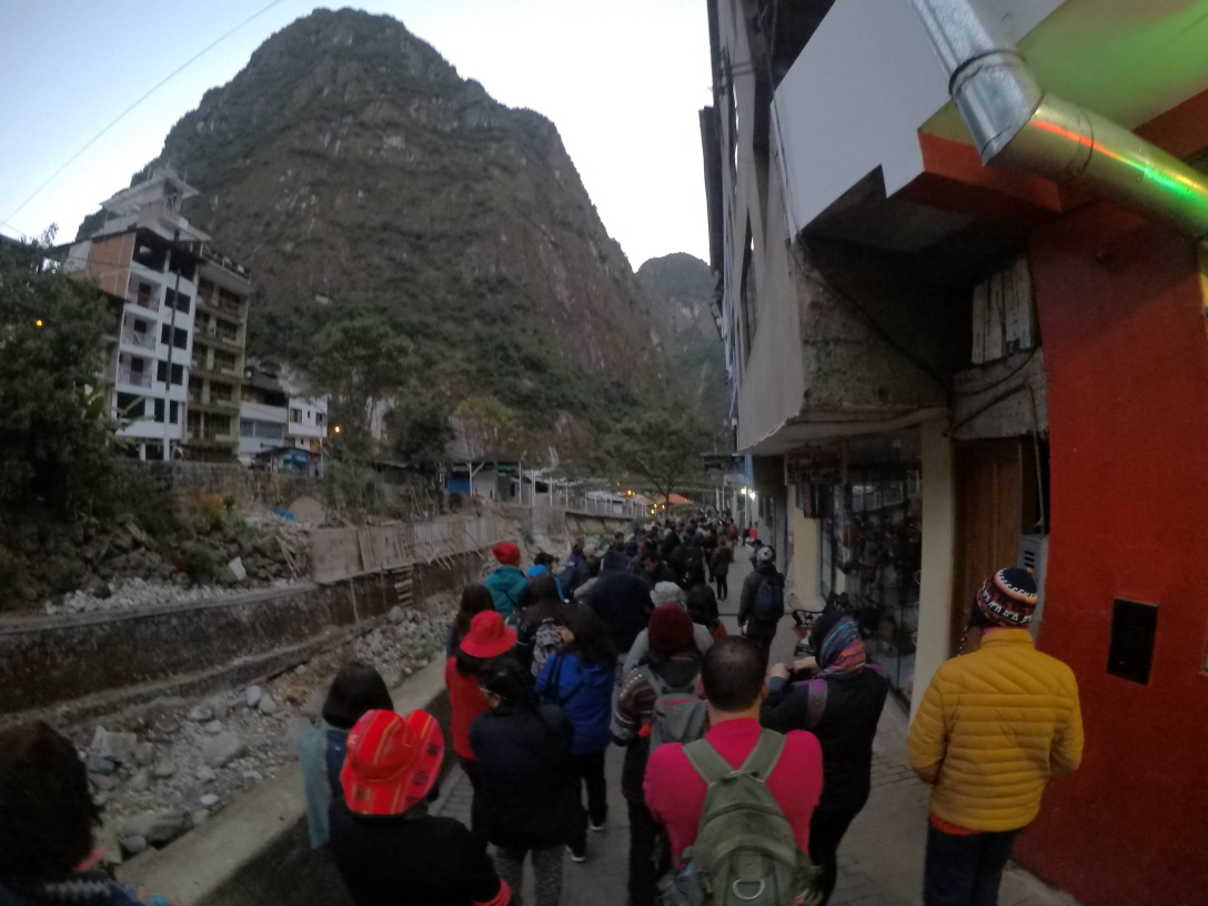 Aguas Calientes queue Machu Picchu