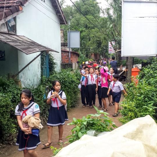 Des écoliers en visite