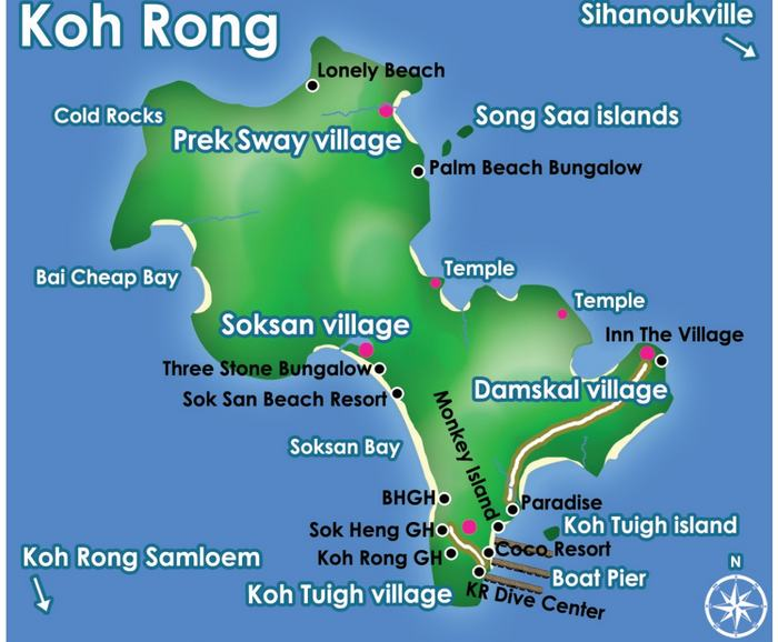 carte koh rong cambodge