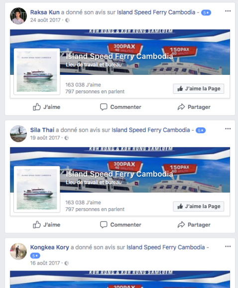 Faux avis Facebook Island Speed Ferry Cambodia